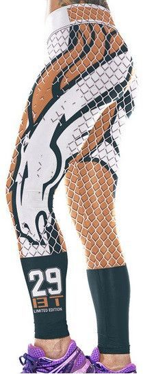 Item Type: NFL Football Leggings Gender: Women Pattern Type: NFL Denver Broncos Leggings Waist Type: Mid Fabric Type: Knitted Material: Polyester,Spandex Length: Ankle-Length Thickness: Superior Quali