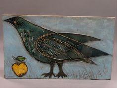 Rut Bryk: Bird with apple Gaudi, Tile Art, Tiles, Modern Ceramics, Decorative Tile, Ceramic Artists, Crows, Ravens, Bird Feathers