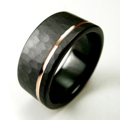 Men's Hammered Offset Rose Gold Stripe Black Zirconium Wedding Band made by Spexton.com