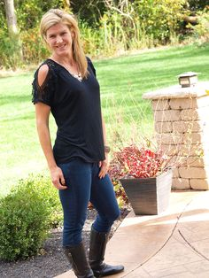 Love this top Stitch Fix Review October 2015 Loveappella Febe Detail Knit Top.  see the whole review at Happy Healthy Mama