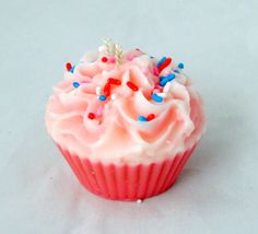 Birthday candle cupcake candle pillar candle by NorthernLitesGifts