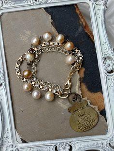 Vintage Dog Tag Rhinestone and Pearl Bracelet~