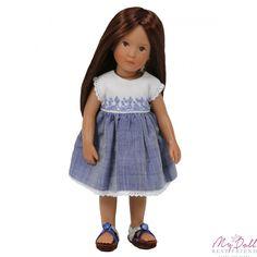 "Embroidered Bodice Blue Chambray Boneka Mini Dress 18-21cm/7-8"""