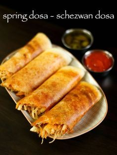 spring dosa recipe, schezwan dosa, chinese dosa with step by step photo/video. p… spring dosa recipe, schezwan dosa, chinese dosa with step by step photo/video. popular mumbai street fast food fusion to indo chinese & south indian cuisine Indian Veg Recipes, Vegetarian Recipes, Snack Recipes, Cooking Recipes, Indian Snacks, Cooking Fish, Cooking Games, Chinese Food Vegetarian, Indian Fast Food