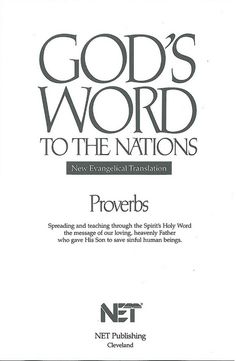 GW Proverbs Title, Bible In My Language