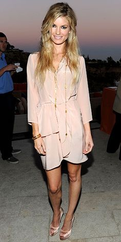 Marissa Miller  WHAT SHE WORE  The model looked California cool in a peach-toned Thayer shirtdress paired with nude, satin peep-toe pumps and lots of layered gold jewelry at InStyle's 9th annual Summer Soiree in Los Angeles.