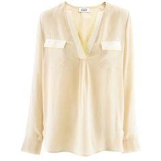 Steffen Schraut Beige Silk Blouse Kim ($225) ❤ liked on Polyvore featuring tops, blouses, shirts, camisas, silk blouse, beige blouse, beige silk top, beige shirt and shirt blouse
