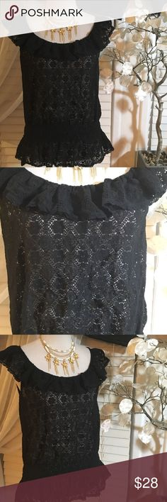 RALPH LAUREN TOP See through top in excellent condition, made of cotton and nylon, dark blue color Ralph Lauren Tops Blouses