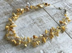 Yellow Mother of Pearl Necklace Colorful Necklace Wire