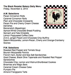 Our Menu Friday, November 2, 2012