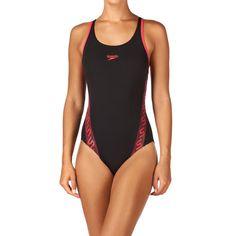 Speedo Swimsuits - Speedo Monogram Muscleback Swimsuit - Black/Raspberry Fill