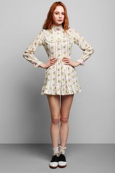 Vintage '60s Floral Prairie Mini Dress  #UrbanOutfitters
