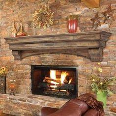 Pearl Mantel Celeste arched pine fireplace mantel or TV shelf. Pick size in dune Custom Fireplace, Rustic Fireplaces, Farmhouse Fireplace, Home Fireplace, Fireplace Design, Stone Fireplaces, Stone Wall With Fireplace, Small Fireplace, Fireplace Ideas