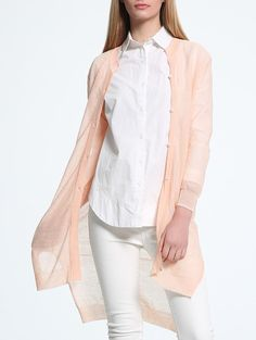 Trendy Coral Pink Asymmetrical Buttoned See-Through Cardigan For Women