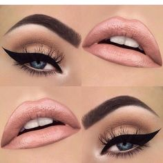 A nude lip and a strong winged eye is the perfect makeup for spring.