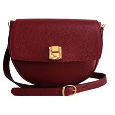 THE CODE HANDBAGS Oval Burgundy Bag found on Polyvore featuring bags, handbags, shoulder bags, red, red leather handbag, red leather shoulder bag, red purse, real leather purses and red handbags
