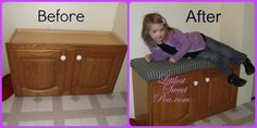 Super Easy #DIY Tutorial to turn cabinets into a bench seat! Littlest Sweet Pea: #DIY Laundry Room Bench www.MyCharmedStory.blogspot.com