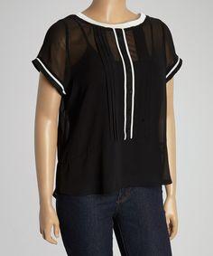 Look at this #zulilyfind! Black & White Pleated Button-Up Top - Plus by C.O.C. #zulilyfinds