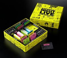 """SNL: The Game packaging by Commonwealth & CO.  """"Our goal was to capture the raw immediacy of SNL's writing process and live performances, which we achieved through hand-drawn illustrations of legendary characters and catchphrases. The package also communicates the fun of playing the game itself, which combines trivia, improv, and quick-fire team play."""""""