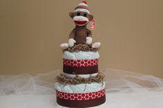 Sock Monkey Diaper Cake by BBLittleThings on Etsy, $35.00