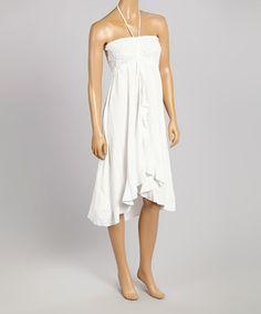 Look what I found on #zulily! White Lace Halter Dress #zulilyfinds