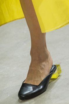 Black mules with clear yellow block heel from the SS18 Prabal Gurung collection. (Photo: ImaxTree)