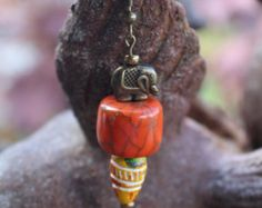 Lucky Elephant Talisman Earrings and Charm Bracelet Stack. Boho Global Ethnic style. Stone Beads. Handcrafted Indian Clay Beads on Etsy