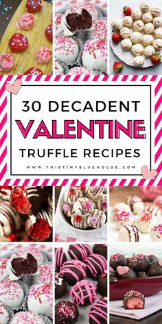 30 Decadent Truffle Recipes Perfect For Valentine's Day - This Tiny Blue House - Wow that special someone in your life with one of these insanely decadent and easy truffle recipes - Valentine Truffles Recipe, Valentine Desserts, Valentines Day Food, Valentine Cookies, Valentines Baking, Valentine Ideas, Valentine Crafts, Holiday Treats, Holiday Recipes