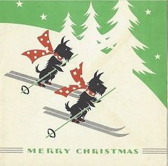 Vintage-Christmas-Card-Scottish-Terriers-Scotties-Snow-Ski-Skiing-Silver-Accents
