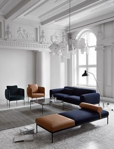 Bon sofa, chairs and daybed, and Plateu table, design by Mats Broberg & Johan Ridderstråle, Adea.