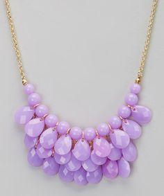 Look what I found on #zulily! Gold & Lilac Teardrop Bib Necklace by Polka Dotsy #zulilyfinds