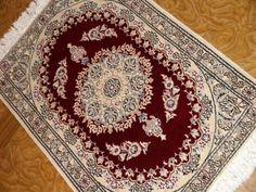 レッドワインカラーおしゃれな玄関マットペルシャ58059、おしゃれ絨毯マットペルシャ