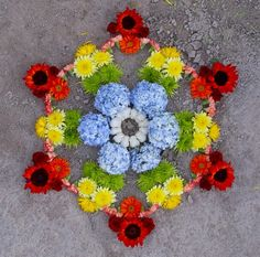 Kathy Klein's Intricate, Multi-Textured Floral Mandalas Flower Circle, Flower Petals, Flower Rangoli, Floating Flowers, Mandala Art, Mandala Meditation, Rangoli Designs, Land Art, Flower Decorations