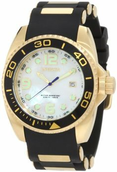 Invicta Men's 0996 Pro Diver White Mother-Of-Pearl Dial Black Polyurethane Watch Invicta. $95.55. Date function. Swiss quartz movement. White mother-of-pearl dial with gold tone hands and hour markers, blue second hand; luminous; unidirectional bezel with black ring. Water-resistant to 100 m (330 feet). Mineral crystal; brushed and polished 18k gold ion-plated stainless steel case; black polyurethane strap with 18k gold ion-plated stainless steel inserts. Save 81% Off!