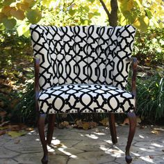 Black and White Scroll Channel Back Chair. $425.00, via Etsy.