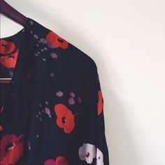 Sheer poppy flower Kimono Beautiful Kimono Size M. The last picture I am wearing size S. Tops