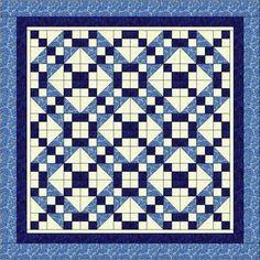 Heirloom Elegance Three Yard Quilt Pattern - Blue Dreams by CutterGurlCreations, $6.00 USD
