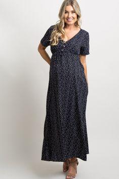 8abb701fecb Navy Blue Polka Dot Button Front Maternity Maxi Dress