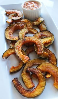 For salty french-fry cravings, whip these squash fries up instead. Even with the spicy Greek yogurt sriracha dip, this snack is under 100 calories.