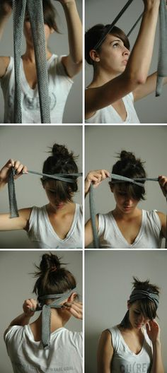 how to make a headscarf from a long ribbon.