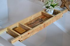 Bath Tray/Made to Order/Recycled Pallet Wood/Rustic Style Bath Rack/Old World Writing/Natural Wood Bath Caddy by SharonMfortheHome on Etsy