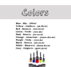 Colors in Italian from http://nativeitalian.tumblr.com