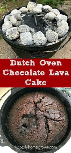 Dutch Oven Chocolate Lava Cake is sure to impress! The wide-eyed expression as I scooped out the cake into 9 bowls and topped each with some vanilla ice cream. And the happy, yummy sounds as they ate every last bite! Camping Desserts, Camping Meals, Camping Cooking, Outdoor Cooking Recipes, Camping Stuff, Camping Life, Rv Life, Dutch Oven Desserts, Dutch Oven Camping