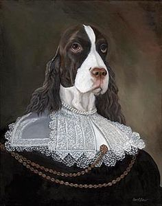 An online portfolio of oil paintings by Carol Lew, featuring portraits of animals in the manner of the Old World masters. Springer Spaniel, Spaniel Dog, Costume Chien, Dog Artist, Pet Fashion, Vintage Dog, Animal Heads, Animals Of The World, Dog Portraits