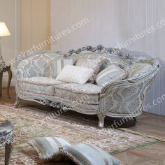 Loveseat Sofa Carved Wood Classic Sofa Store