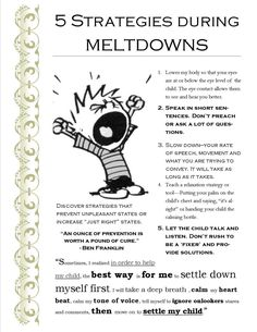 (edited June 2017) I did up this posterin 2015 when I was trying to find ways to cope with my child's meltdowns.After working with my child for a few years, I have come to have a better und…