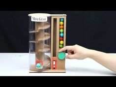 How to make vending machine with gumball from cardboard at home. It's very simple vending machine you can make it at home. I share this idea to you and I hop. Cardboard Box Crafts, Cardboard Crafts, Paper Crafts, Diy Home Crafts, Fun Crafts, Vending Machine Diy, Diy For Kids, Crafts For Kids, Diy Gumball Machine