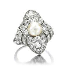 Cartier. An Art Deco Pearl and Diamond Ring,  circa 1920.