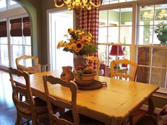 Savvy Southern Style: Love the buffalo plaid curtains and sunflowers French Country Farmhouse, French Country Decorating, Farmhouse Table, Antique Farmhouse, Country Charm, Buffalo Plaid Curtains, Green Wall Color, Savvy Southern Style, Eclectic Decor