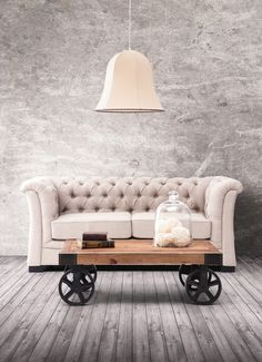 Tangier Cart Table Distressed Natural #industrial #furniture #coffeetable